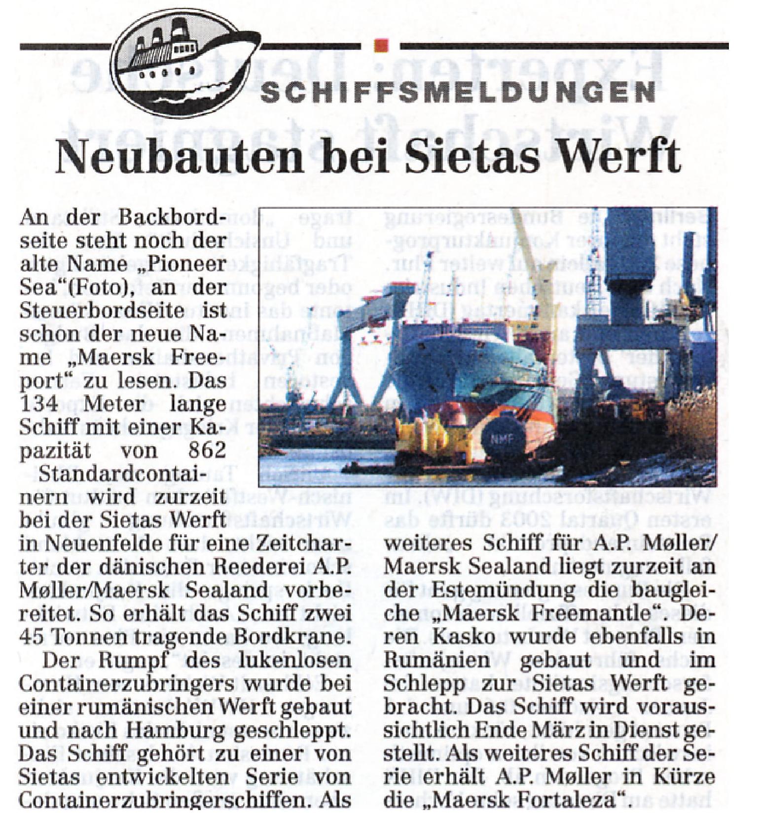 Hamburger Abendblatt 10.02.2003