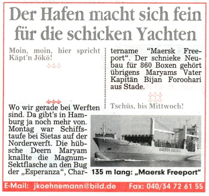 Bildzeitung Hamburg 12.03.2003