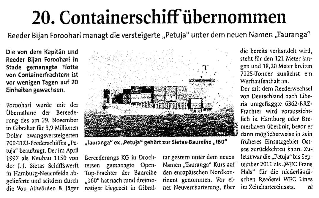 THB Deutsche Schifffahrtszeitung 16.12.2011
