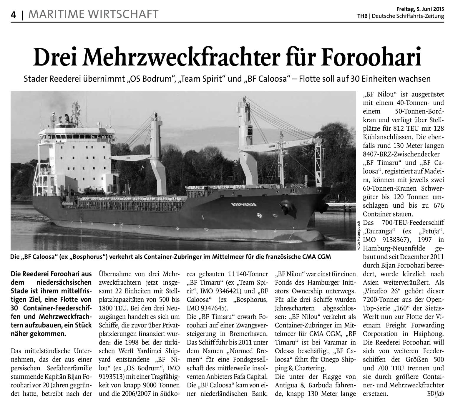 THB Deutsche Schifffahrtszeitung 05.06.2015
