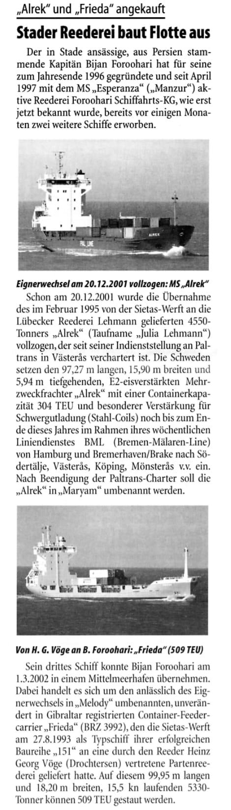 THB Deutsche Schifffahrtszeitung 21.08.2002