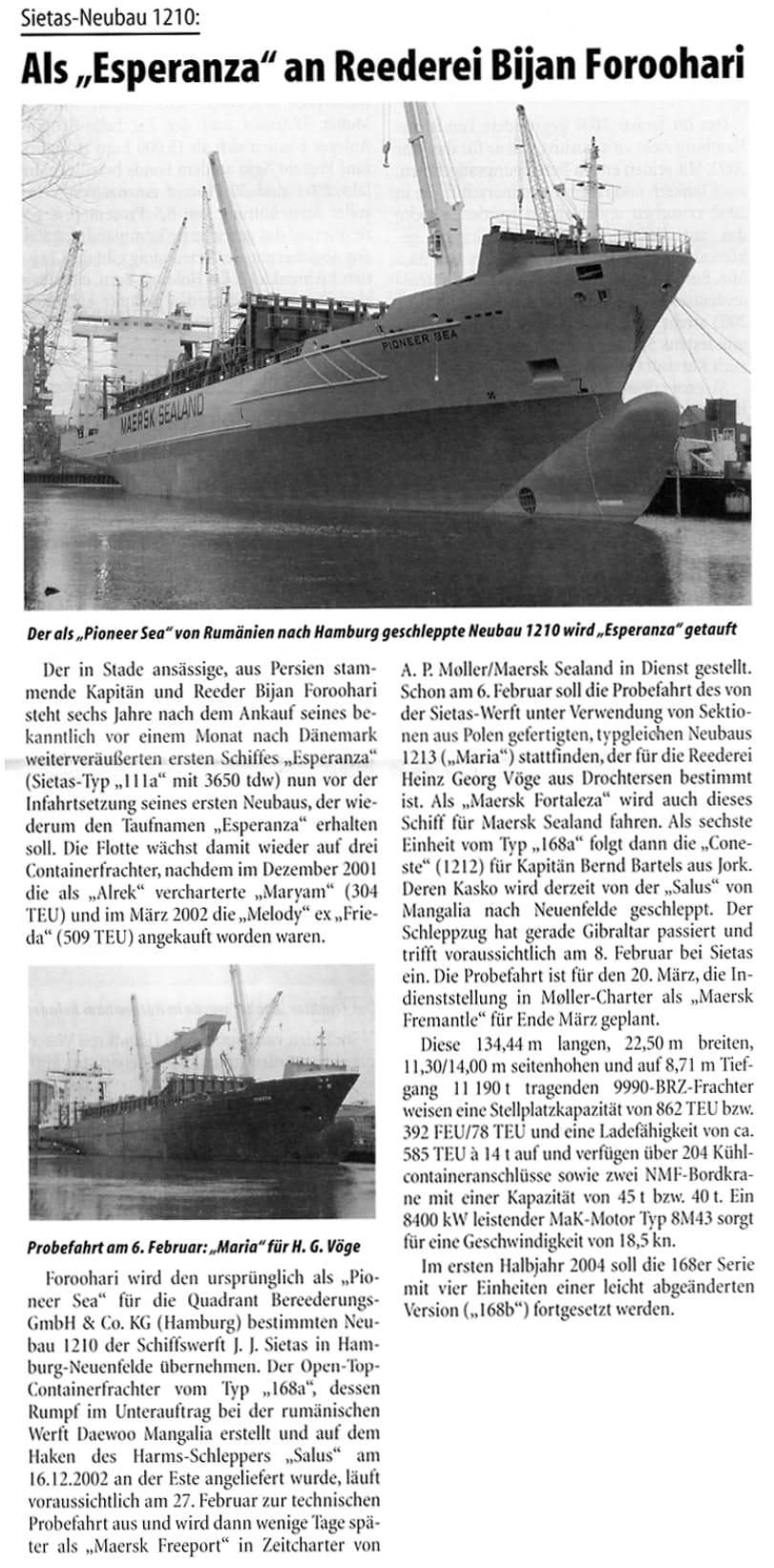 THB Deutsche Schifffahrtszeitung 30.01.2003