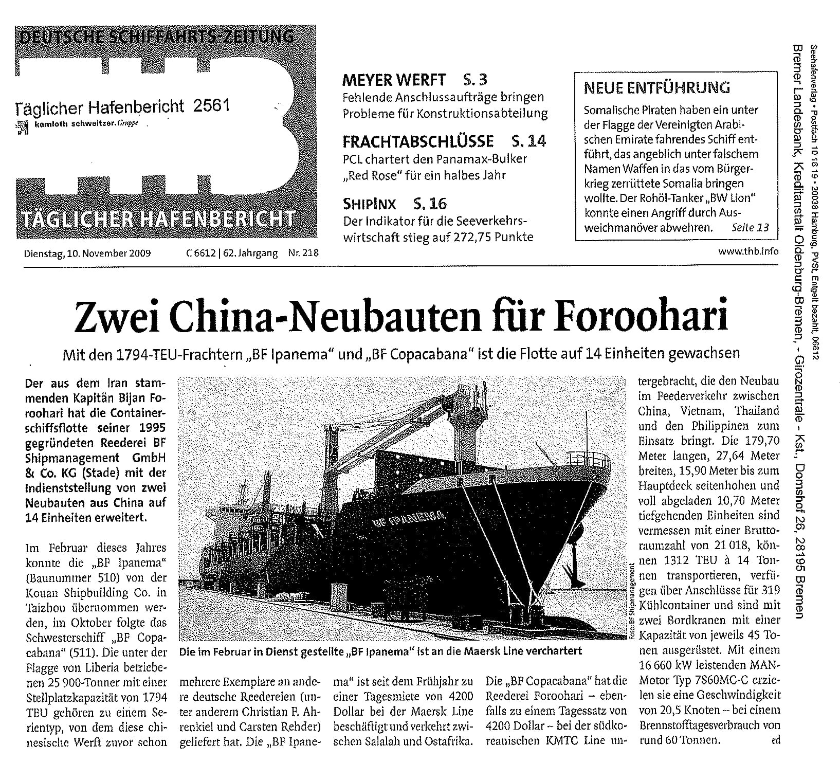 THB Deutsche Schifffahrtszeitung 10.11.2009