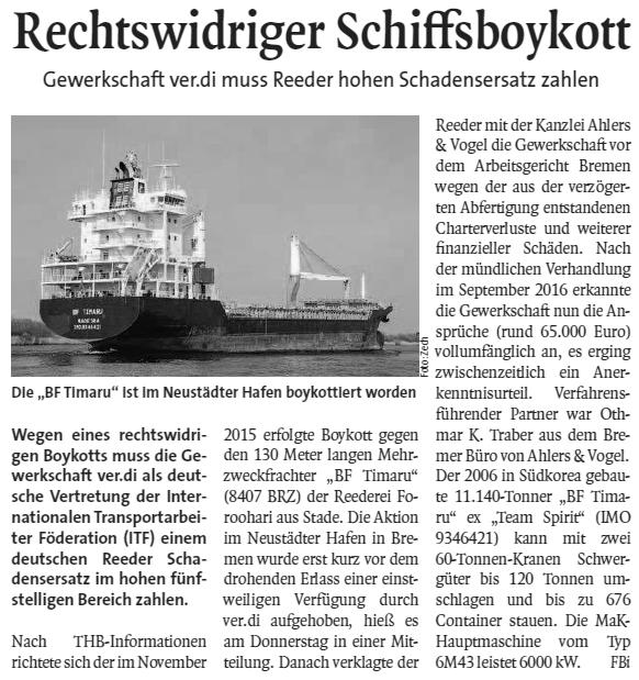 THB Deutsche Schifffahrtszeitung 06.01.2017