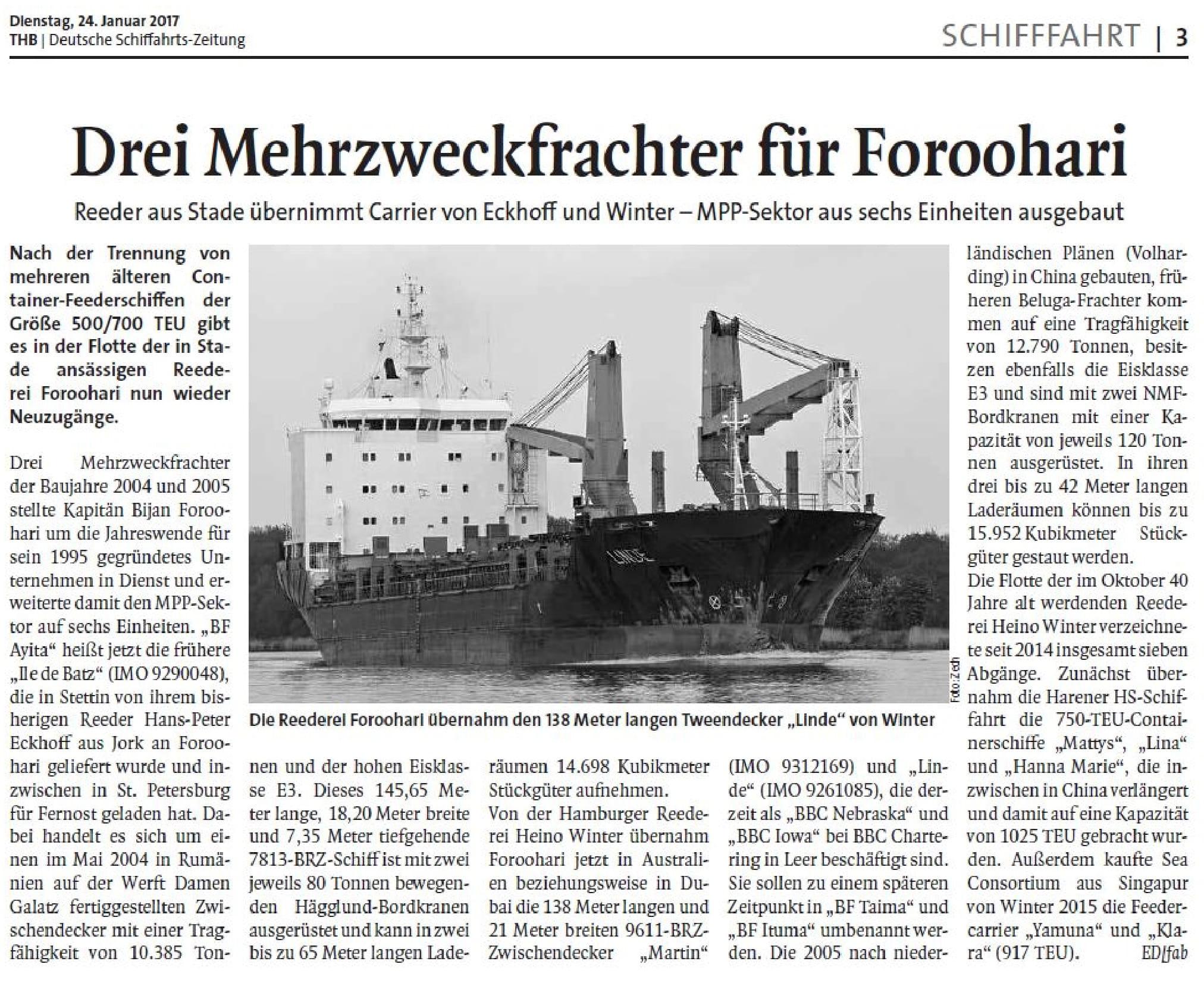 THB Deutsche Schifffahrtszeitung 24.01.2017